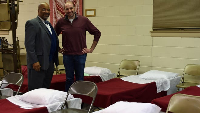Mayor Albert Kelly and Dr. Rev. Robin Weinstein are pictured inside the warming center at Bethany Grace Community Church in Bridgeton on Saturday, Dec. 17, the ninth consecutive night of active Code Blue status in Cumberland County.