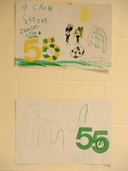 Drawings by students in support of Austin McNew at