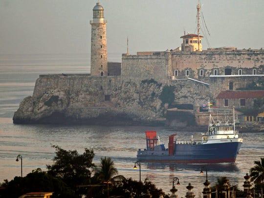 The U.S. cargo ship Ana Cecilia arrives in Havana Bay