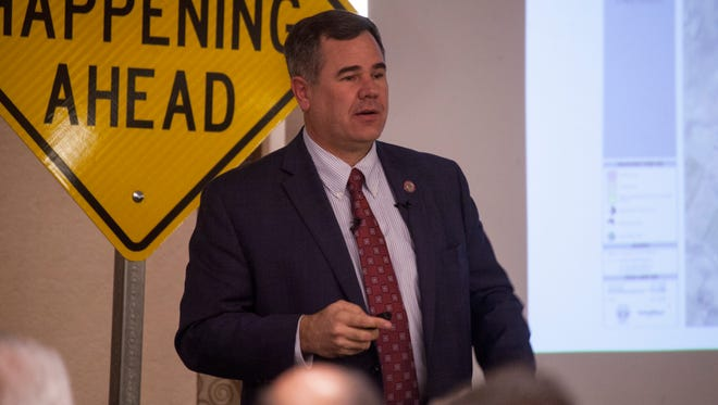 St. George Mayor Jon Pike presents his vision for the future of St. George to community leaders Wednesday, Feb. 3, 2016.