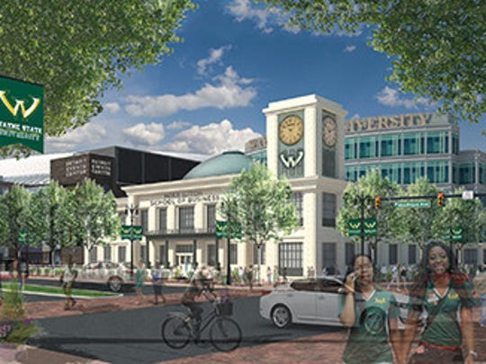 "The Ilitch family plans to donate $35 million to build Wayne State's new business school plus a $5-million endowment. The building, seen here in an artist's rendering of a street view during the day, would be marketed as ""Detroit's business school"" and located on property owned by the family and near the new Red Wings arena under construction on Woodward Avenue north of downtown Detroit."