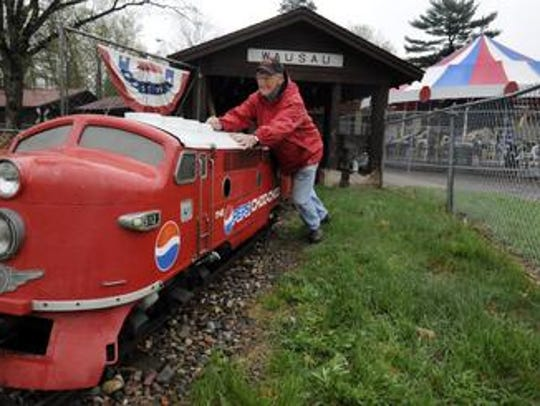 Chip Winter push out the locomotive ride from storage