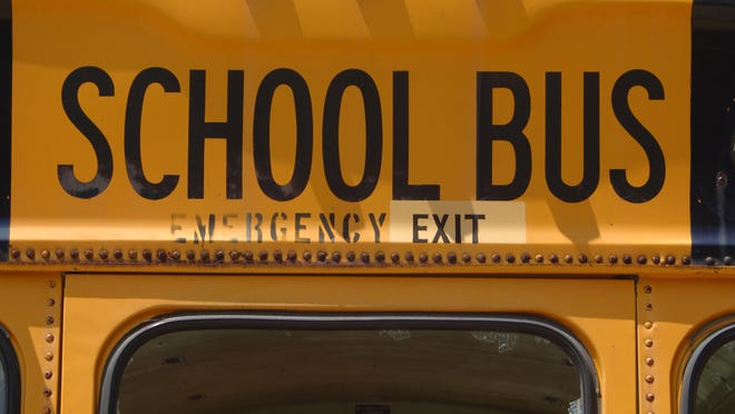 Detail of the rear of a school bus.