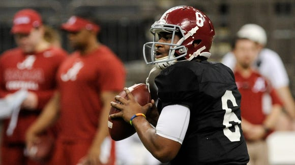 Alabama quarterback Blake Sims practices at the Superdome in New Orleans, La. on Monday morning December 29, 2014.