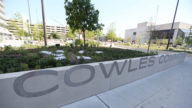 Construction nears completion at Cowles Commons on Thursday, May 21, 2015.