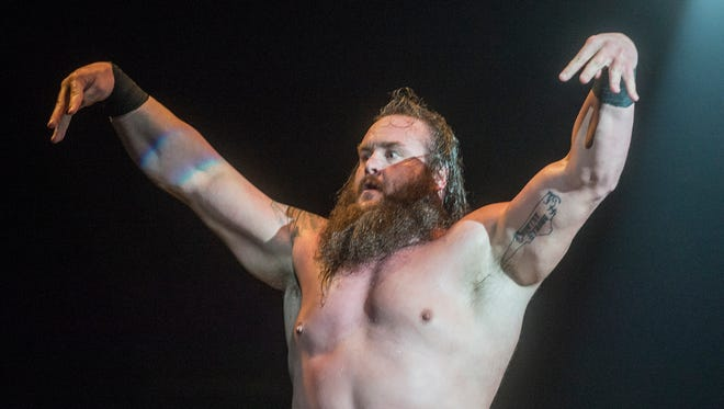 Braun Strowman enters the ring. The stars of the WWE slammed into Garrett Coliseum in Montgomery, Ala., on Saturday, Jan. 9, 2016.