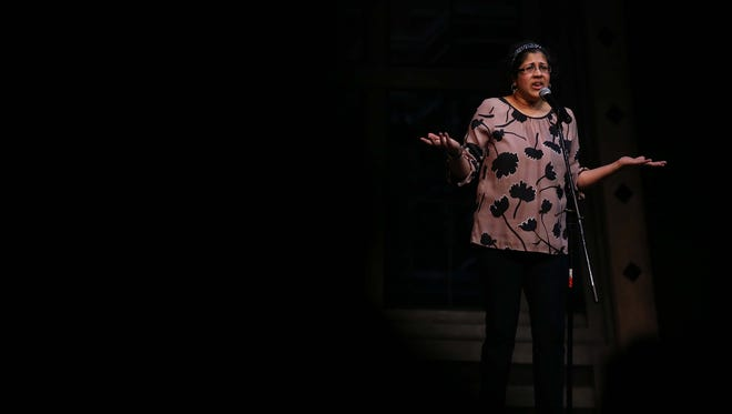 Crissanka Christadoss shares her story during the Des Moines Storytellers Project: Love and Heartbreak event on Tuesday, Feb. 16, 2016, at the Des Moines Playhouse.