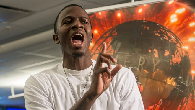 Andrew McCarter performs some of his original Christian rap music in the Montgomery  Advertiser newsroom on Monday, May 16, 2016, in this week's edition of Montgomery Advertiser LIVE!