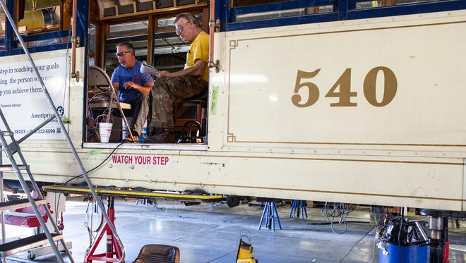 February 23, 2017 - Randy Hudson (left) and Vern Helms with Shelby Electric rewire Trolley 540 at the MATA Trolley Barn at 547 N. Main. The Melbourne W-2 type trolley was built in 1927 and is undergoing an in-house renewal.