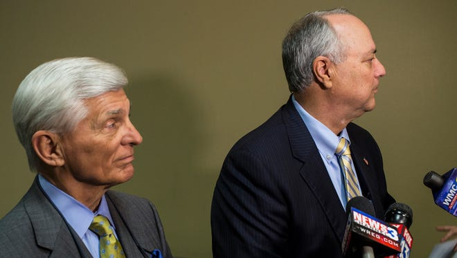 May 10, 2017 - Defense attorneys Bill Massey and Steve Farese speak to media after Tennessee businessman Mark Giannini, acquitted last month on rape charges, was denied bond on other pending charges, including two other rape cases.