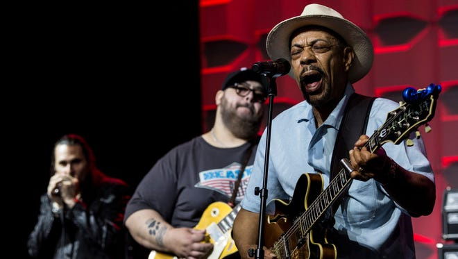 Blues artist John Primer out of Chicago performs May 11, 2017, during a sound check at Cook Convention Center before the Blues Music Awards by the Blues Foundation.
