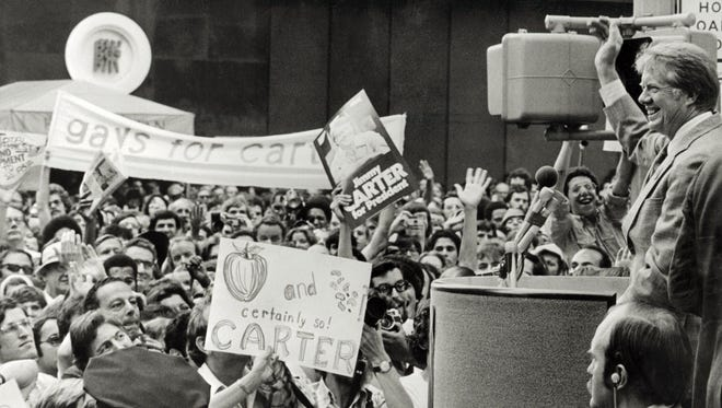 File photo dated June 1976 of Democratic candidate for the US Presidency Jimmy Carter during the Democratic National Convention in New York City.