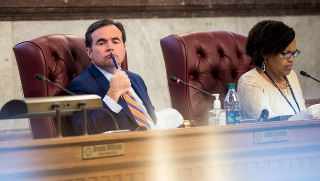Cincinnati Mayor John Cranley listens to City Council members discuss the infrastructure financing plan for FC Cincinnati at City Hall in downtown Cincinnati Wednesday, November 29, 2017. City Council passed the FC Stadium deal 5-3 to clear the way for MLS bid.