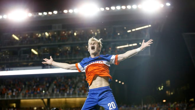 Wed., June 28, 2017When FC Cincinnati goalkeeper Mitch Hildebrandt made the game-winning save to upset MLS side Chicago Fire, it was like bedlam at Nippert Stadium. The packed stadium erupted in jubilation. Forward Jimmy McLaughlin's leap toward the stands became the iconic moment that encapsulated the night. His pure emotion will forever be seared in my memory.