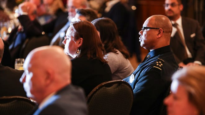January 17, 2018 - Memphis police Director Michael Rallings listens as Memphis Mayor Jim Strickland speaks during his second State of the City at The University Club.