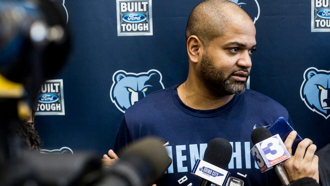 February 09, 2018 - J. B. Bickerstaff, interim head coach of the Grizzlies, speaks during a press conference at the FedExForum.