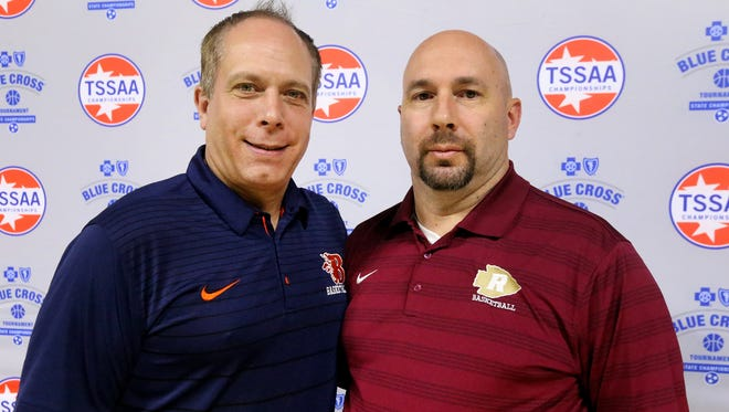 Blackman head boys coach Barry Wortman and Riverdale head boys coach Michael Voss pose during last week's TSSAA boys state tournament draw. Voss, a former assistant under Wortman, is taking his first squad to state.