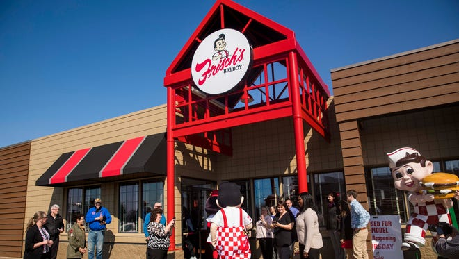 Frisch's Big Boy arrives at the unveiling of the remodeled Frisch's Mainliner restaurant and new corporate museum at the Fairfax Frisch's location Wednesday, April 11, 2018.