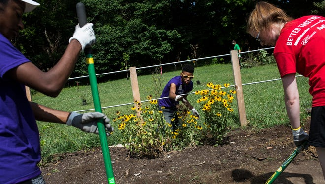 Micheal Boyd, an intern with FedEx, center, works in a flower bed while Maiya Newton, an intern with FedEx, left, and Lexi Herring, an intern with AutoZone, clean off a sidewalk while beautifying a park on Overton Square Avenue near JW Williams Lane during the 901nterns Volunteer Event on June 22, 2018. The 901nterns program is a collaboration between AutoZone, International Paper, FedEx and First Tennessee. Interns from all four companies volunteered their time working on service projects around Memphis.