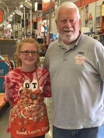 Clarissa Miller with Kids Workshop captain Fred Bauerle.