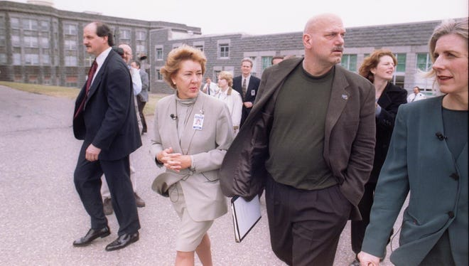 Gov. Jesse Ventura toured the Minnesota Correctional Facilty-St. Cloud on April 22, 1999, with warden Patt Adair, left, and Commissioner of Corrections Sheryl Ramstad Hvass.