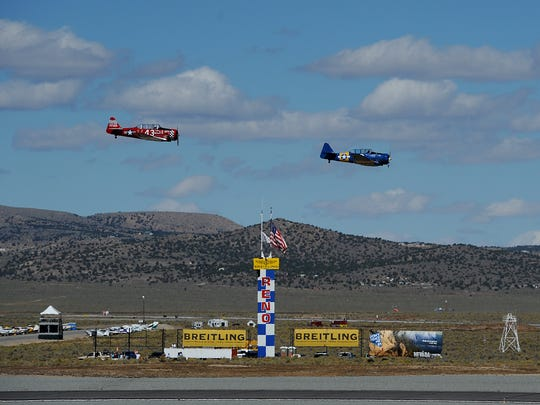 Airplanes make their way around the course during the Reno National Championship Air Races at Stead Airport on Sept. 17, 2015.