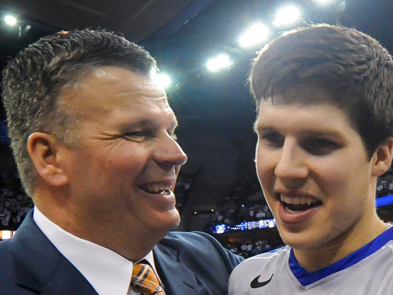 Creighton Bluejays head coach Greg McDermott hugs his son Doug McDermott after their NCAA basketball game against the Providence Friars at the CenturyLink Center.