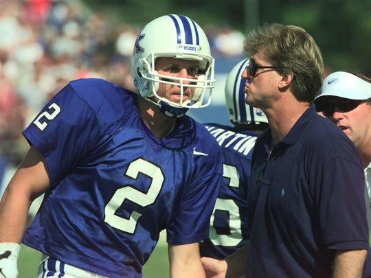 At Kentucky, Hal Mumme, right, had a future No. 1 NFL Draft pick at quarterback in Tim Couch, left.