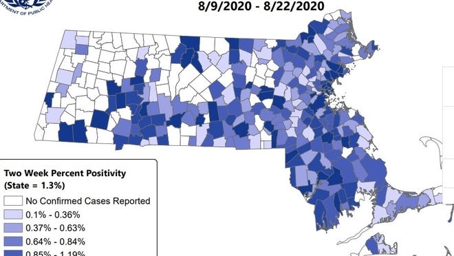 This map shows the coronavirus positivity rates among Massachusetts towns for the past two weeks.