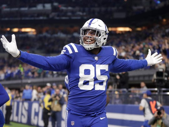 Indianapolis Colts tight end Eric Ebron (85) celebrates touchdown against the Miami Dolphins during the first half of an NFL football game in Indianapolis, Sunday, Nov. 25, 2018. (AP Photo/Michael Conroy)