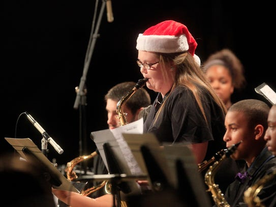 A Muncie Central Jazz Band saxophonist plays a solo