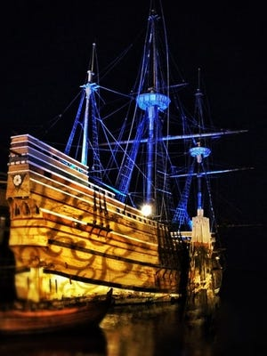 The Mayflower II will be illuminated each evening to commemorate Plymouth's 400th anniversary. The ship, which returned home to Plymouth on Aug. 10, will be lit up at dusk through November. The ship is docked in Plymouth Harbor, just down the road from the Plimoth Plantation living history museum. The replica of the original Mayflower ship that brought the Pilgrims to Plymouth, Massachusetts, in 1620 had been in Connecticut for three years to have $11.2 million worth of renovations.