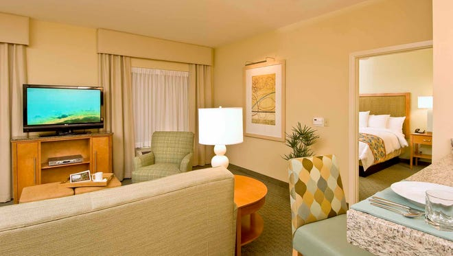 A room at Homewood Suites by Hilton offers guests the comforts of home while on the road.