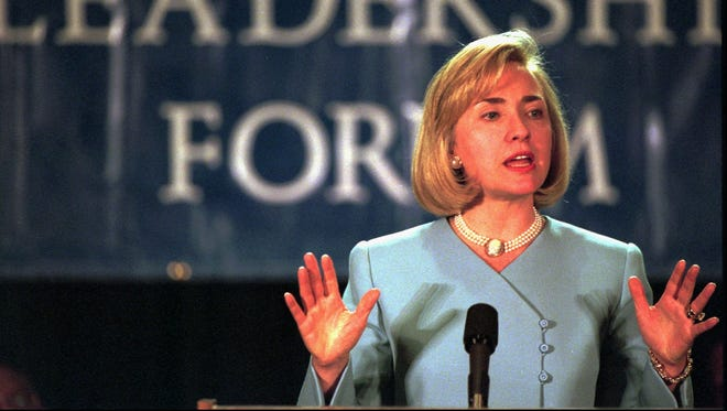 Then-first lady Hillary Clinton at the Democratic National Committee Women's Leadership Forum in Cleveland on June 18, 1997.