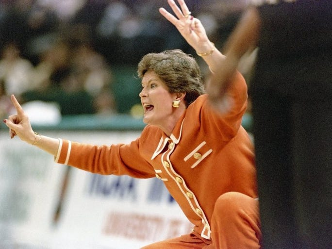 Coach Pat Summitt leads the Lady Vols during a Final Four game on March 29, 1996 in Charlotte, N.C.