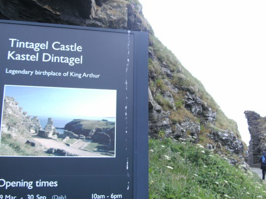 A sign depicting the Tintagel Castle that may have been built on the ruins of King Arthur's 13th century castle.