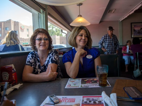 Denny's general manager Eula Holmes, left, and manager
