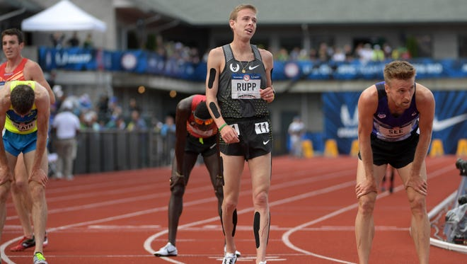 Jul 9, 2016; Eugene, OR, USA; Galen Rupp reacts after placing ninth in the 5,000m in 13:41.09 during the 2016 U.S. Olympic Team Trials at Hayward Field. Mandatory Credit: Kirby Lee-USA TODAY Sports