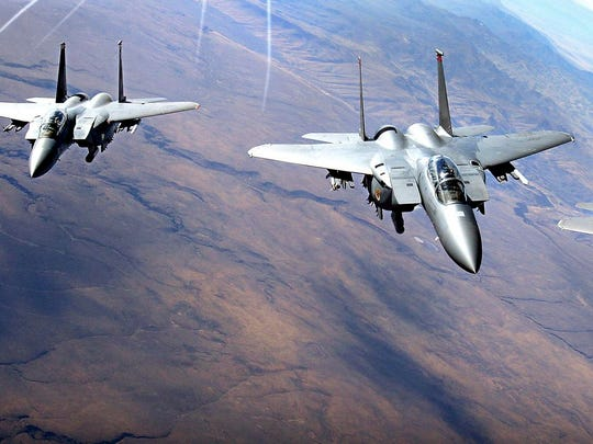 U.S. Air Force F-15 aircraft fly in formation near Mountain Home Air Force Base, Idaho.