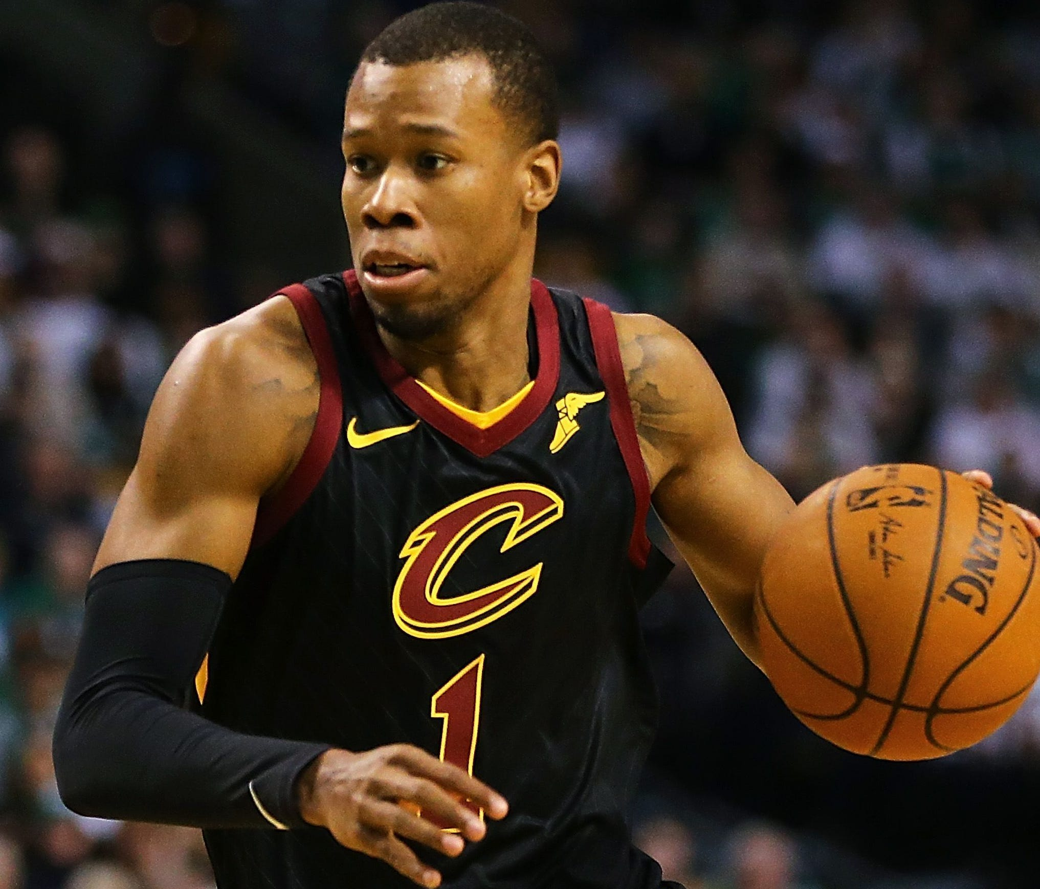 BOSTON, MA - FEBRUARY 11:  Rodney Hood #1 of the Cleveland Cavaliers dribbles during a game against the Boston Celtics at TD Garden on February 11, 2018 in Boston, Massachusetts. NOTE TO USER: User expressly acknowledges and agrees that, by downloadi