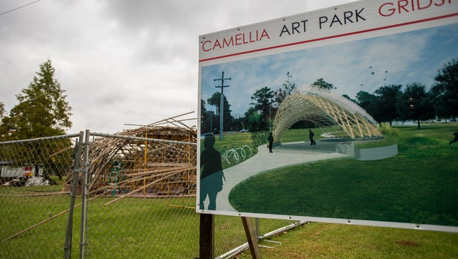 The Camellia Art Park Gridshell Pavillion, which will be named the Lafayette Strong Pavillion, is located in a green space between Camellia Boulevard and Mount Vernon Street in Lafayette, La., Tuesday, Nov. 3, 2015.