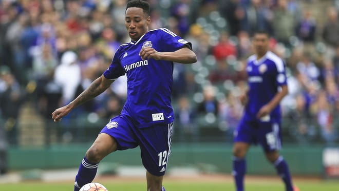 Louisville City FC's Mark-Anthony Kaye controls the ball in the club's home opener April 2. Louisville lost 2-0 to New York Red Bull II in the team's home opener.