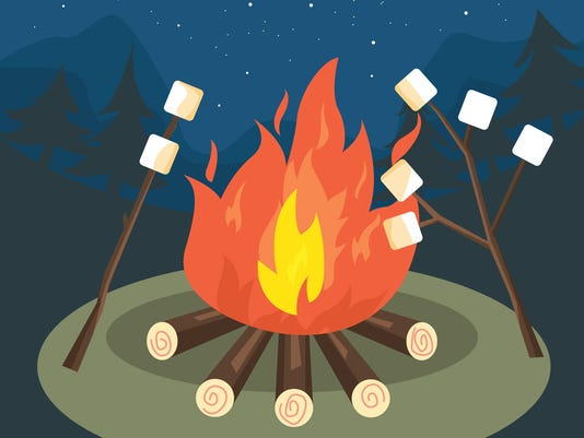 campfire party marshmallow grill vector illustration