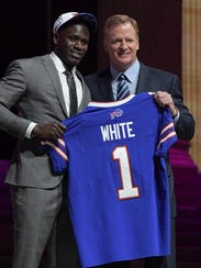 Roger Goodell, with Bills' first-round pick Tre'Davious