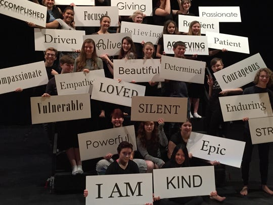 """Thirty Door County high school students make positive statements in a scene from """"LEAP — The Human Kindness Project,"""" which holds a public performance April 15 at Southern Door Community Auditorium."""