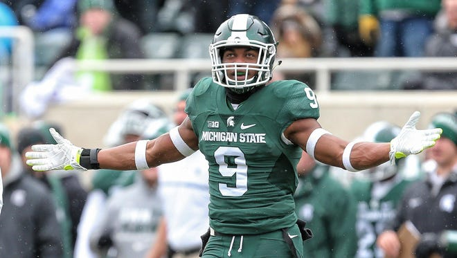 Michigan State Spartans safety Montae Nicholson reacts to a play during the first half against the Ohio State Buckeyes at Spartan Stadium.