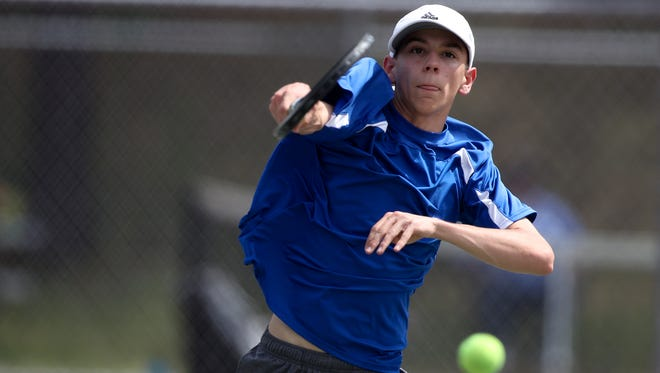 U-Prep sophomore Brian Work hits a shot on April 24 at Willows. Work and doubles partner Eddie Kranz won the deciding match Wednesday at Orland to capture the Northern Section Division II team championship.