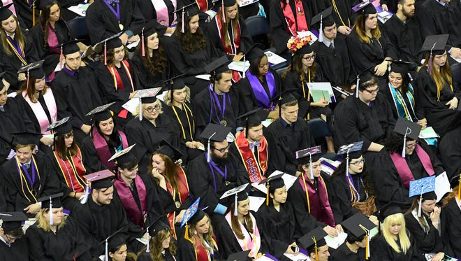 University of Evansville graduates at the school's 159th Commencement ceremony held at the Ford Center Saturday, May 6, 2017.