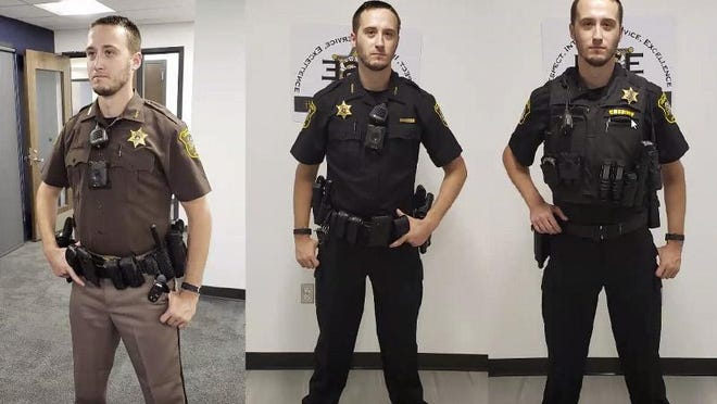 The Lenawee County Sheriff's Office Class A uniform, far left, will be replaced by new Class B uniforms, center and far right, which will provide deputies with more utility and reduce the weight off their belts through an outer carrier for equipment.