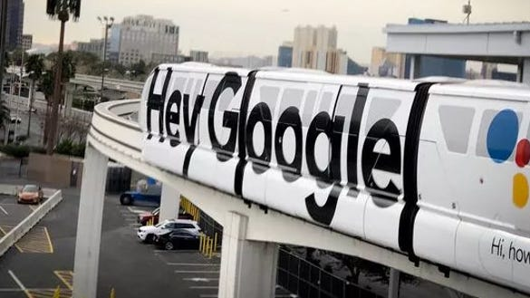 Google touting the Google Assistant at CES 2018 in Las Vegas. Here it advertised the digital assistant on the Las Vegas Monorail.